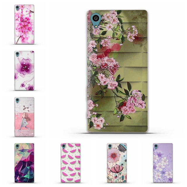 for Xperia Z5 Capa Floral Cartoon Shell Case for Sony Xperia Z5 Cae  Soft TPU Back Case Cover Silicone Case for Sony Z5 Covers