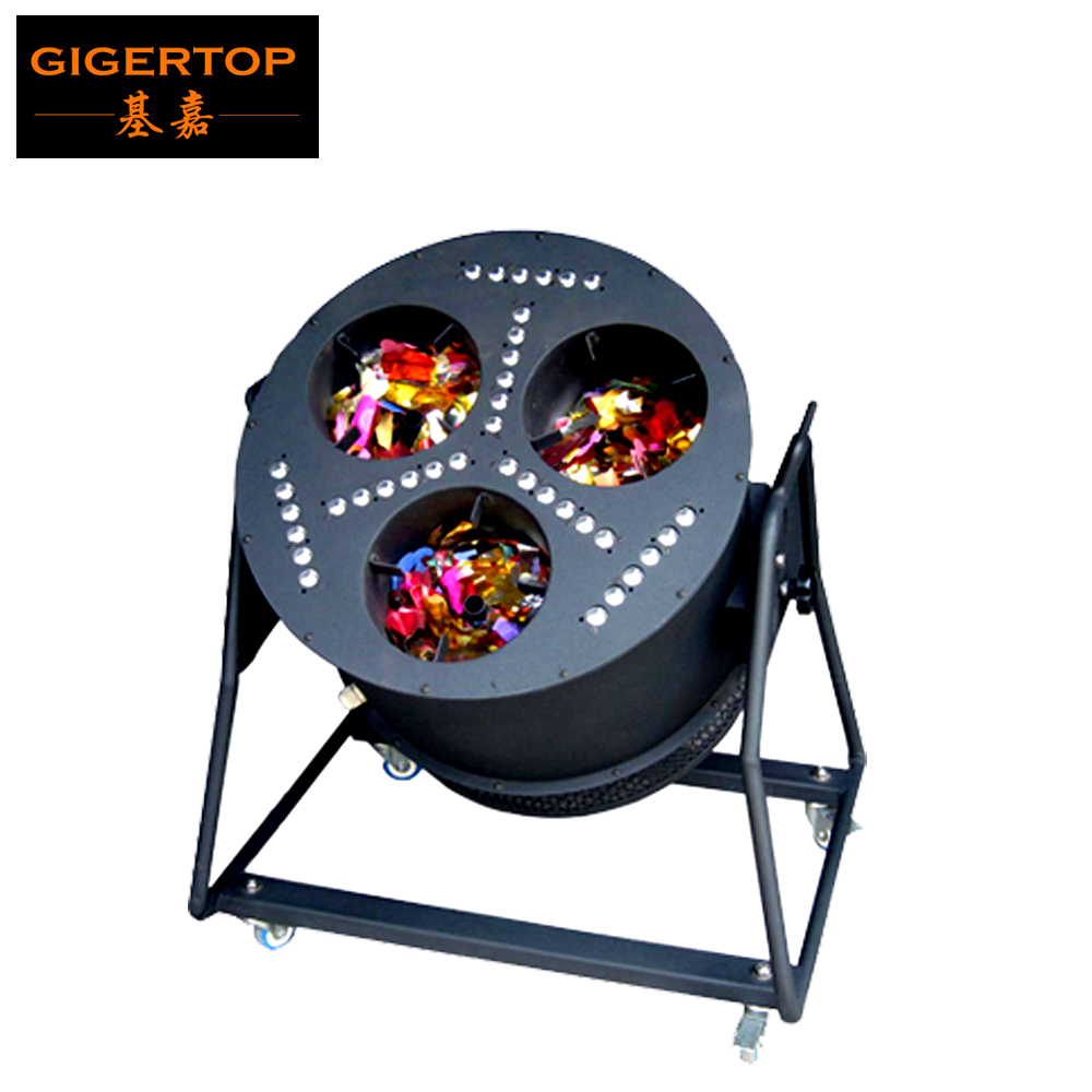 Gigertop Three Head Led Confetti Machine High Power Height Jet Led Confetti Blower 36pcs Led Lamps Power Switch Control Roadcase p80 panasonic super high cost complete air cutter torches torch head body straigh machine arc starting 12foot