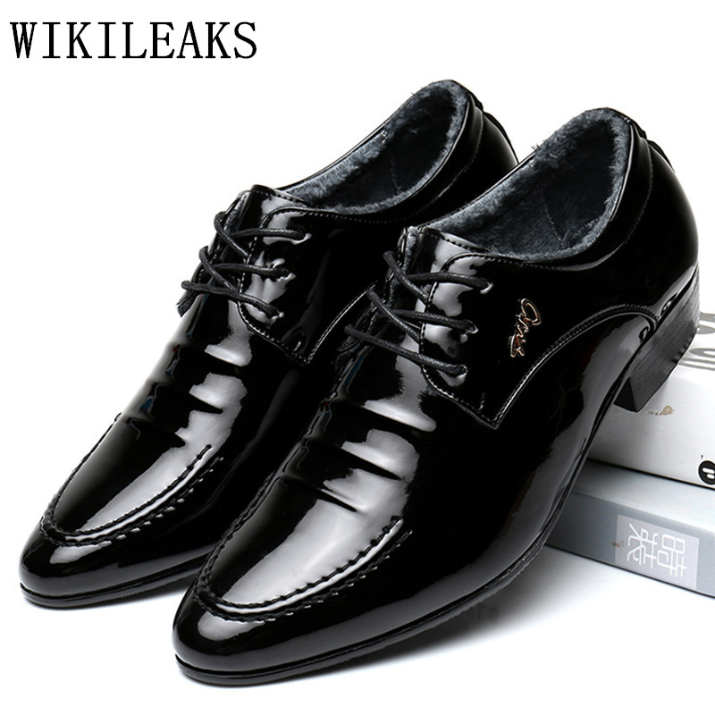 italian oxford shoes for men luxury brand mens short plush patent leather wedding shoes mens pointed toe dress shoes 2018 black choudory new winter men ankle italian shoes men leather shoes pointed toe mens black dress shoes sequined toe spiked loafers men