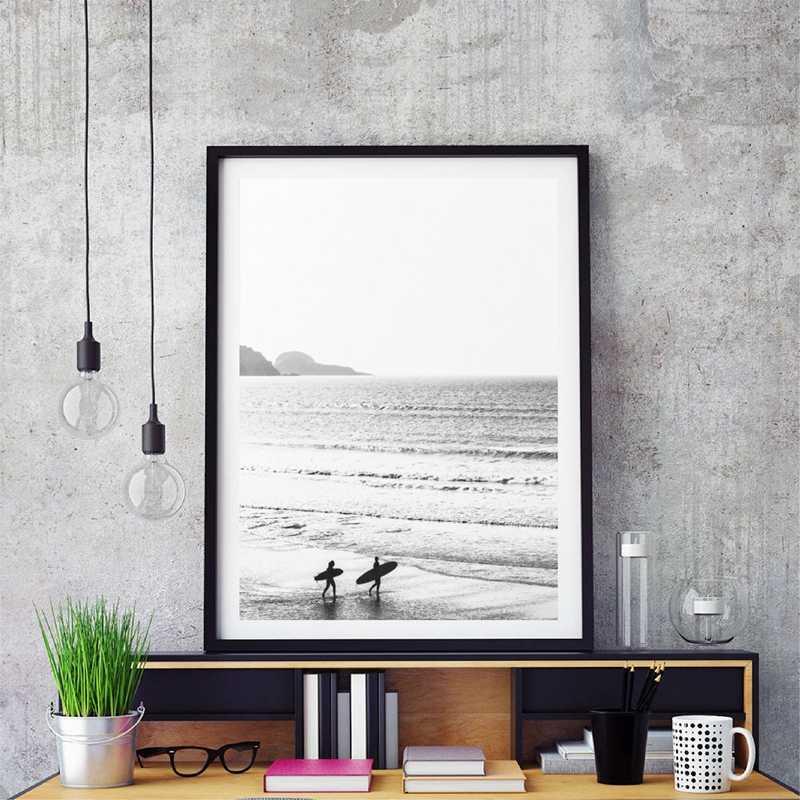 الشاطئ الاستوائية المشهد الملصقات يطبع النخيل الشاطئ تصفح الرسم على لوحات القماش الجدارية الأسود والأبيض التصوير صور ديكور المنزل