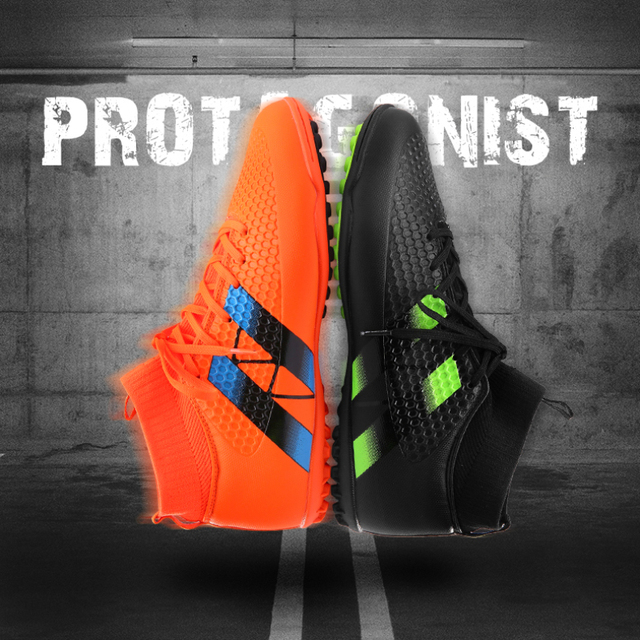 New Men Football Boots Futsal TF High Ankle Soccer Shoes Hard wearing Adult  Professional Indoor Sock Cleats Sports Trainer 0c88fedc05f1f