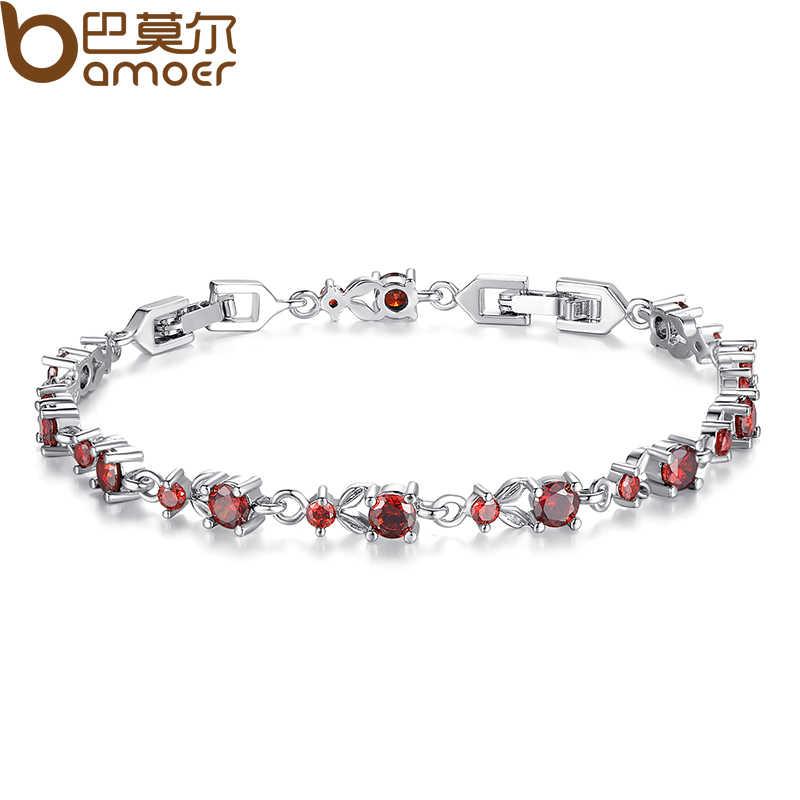 BAMOER 6 kolory luksusowe różowe złoto kolor Chain Link bransoletka dla kobiet panie Shining aaa sześcienne cyrkon kryształ biżuteria JIB013