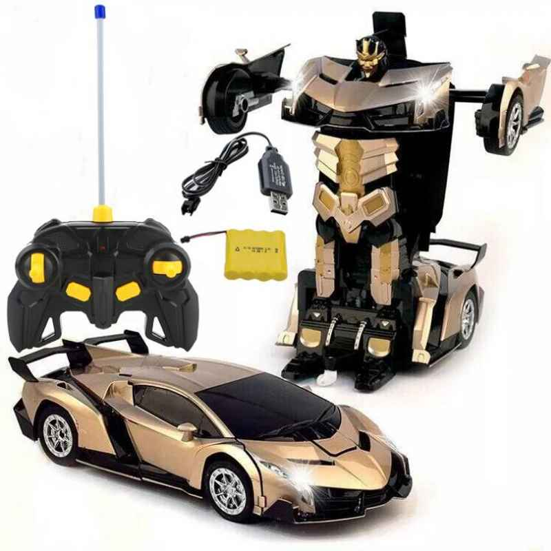 Induction Electric RC Car Sports Car Shock Resistant Transformation Robot Toy Remote Control Deformation Car Baby Toy Figures цены