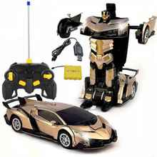 Induction Electric RC Car Sports Car Shock Resistant Transformation Robot Toy Re