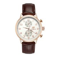 JIJIA Mens Watches Luxury Brand Waterproof Style Quartz Leather Strap Watch SG8018 Rose Gold White