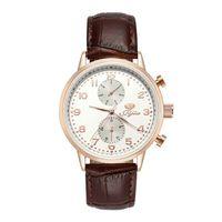 JIJIA styl skórzany Pasek kwarcowy zegarek Męskie zegarki luksusowe marki wodoodporna SG8018 złota róża biały