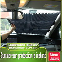 Double suction cups auto retractable heat insulating sunshade shade for cars sunscreen curtain for automobile sunshade panels