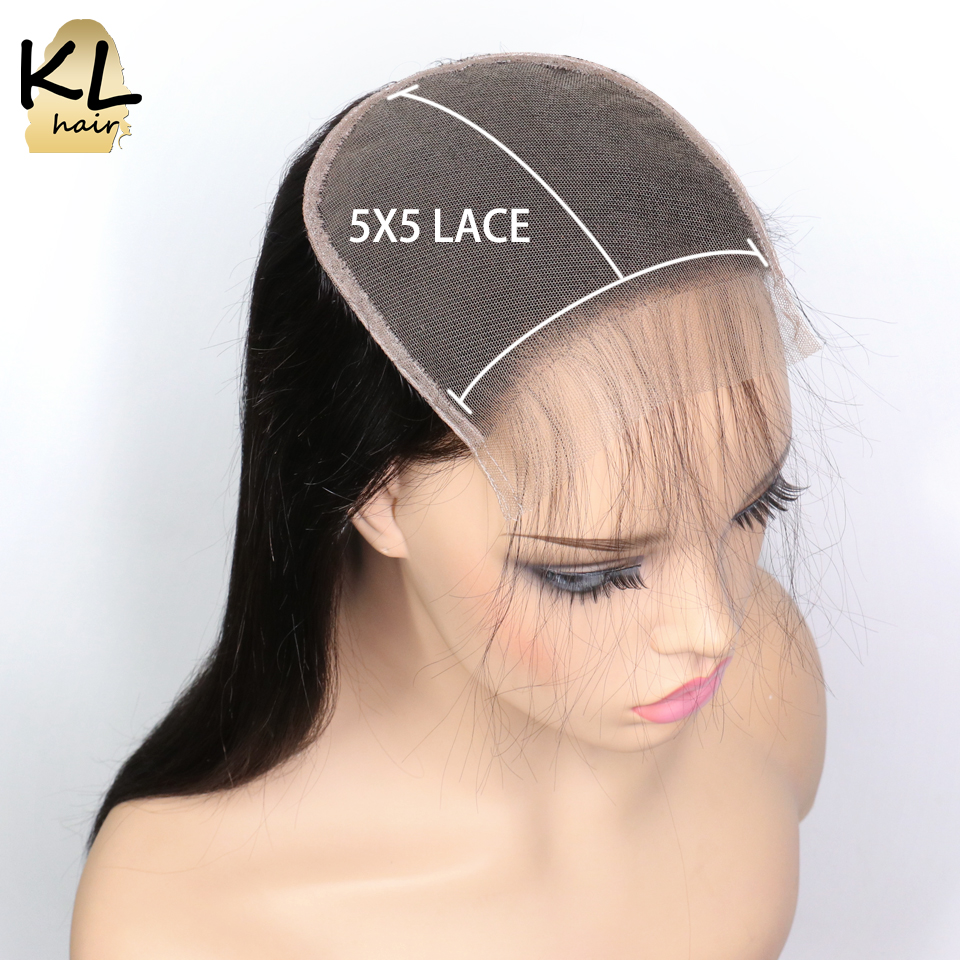 KL Hair 5x5 Straight Lace Closure Free Part Human Hair Natural Color Brazilian Remy Hair Closure With Baby Hair Bleached Knots