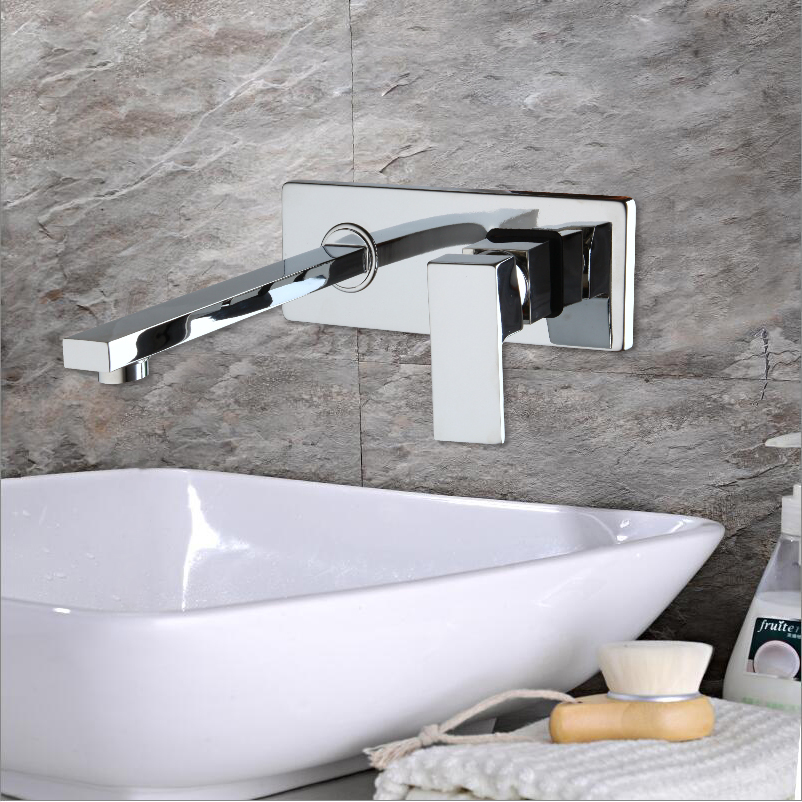 Wall Mounted Waterfall Bathroom Faucet Chrome Brass Spout Vanity Sink Mixer Tap Faucet