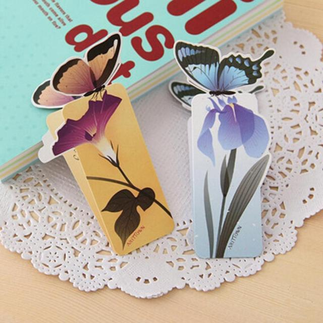 1 Pcs Flower Print Bookmark Stationery Colorful Mini Paper 3D Stereo Butterfly Bookmarks For Girls Women Gifts random color
