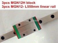 Kossel Mini MGN12 12mm miniature linear rail slide = 3pcs 12mm L 550 mm rail+3pcs MGN12H carriage for X Y Z axis cnc parts