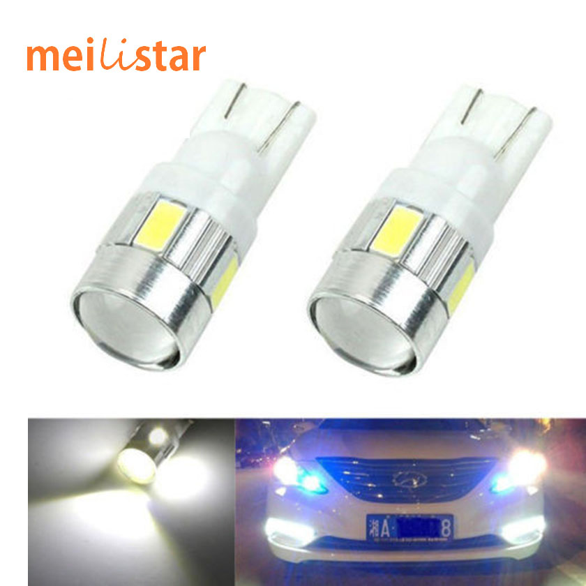Aiouniyastar  New update 4 colors T10 LED 1 PCS Auto Car Light Bulb 5730 SMD 6 LED W5W 12V Interior Parking Projector Lens Free Shipping