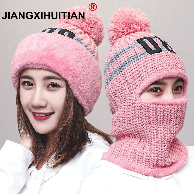 New Knit Lining Winter Hats Women Warm Fur Pom Pom Cap   Skullies   & Knit Hats For Women High Quality Girls Hats   beanie   hat