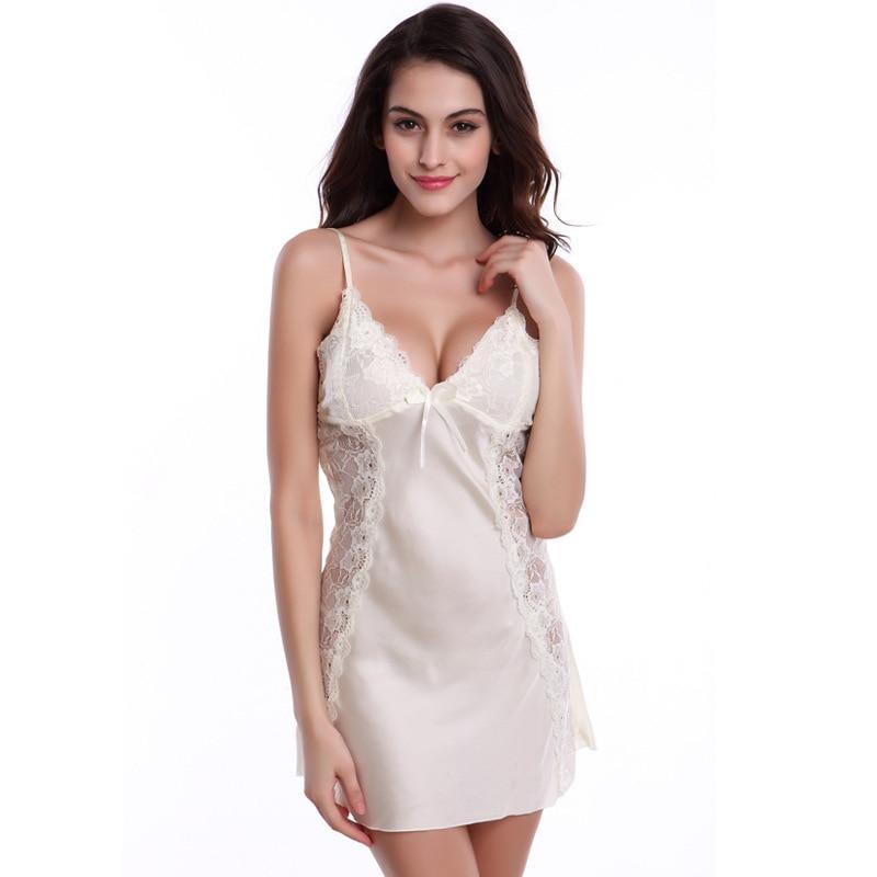 Adome women's sexy satin pajamas silk nightgown lingerie mini slip sleepwear