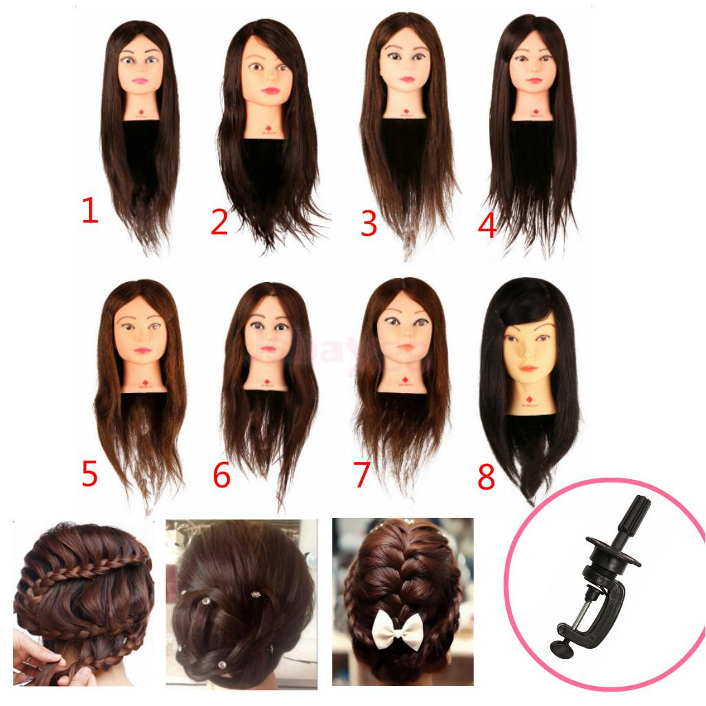 New Salon Barber Real Human Hair Hairdressing Cutting Braiding Practice Head Mannequin Training Head Doll with Clamp - 8 Styles