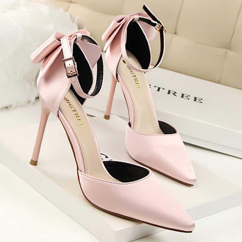 Kadın Pompaları 10 CM Yüksek Topuklu Kadınlar Için Düğün parti ayakkabıları Kadın Topuklu yay-düğüm Ayakkabı Yaz Pompaları Topuklu Sandalet kadın Boyutu 43