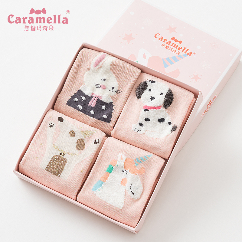Underwear & Sleepwears 2018 New 4pairs/box 25cm Cotton Pink Rabbit Dog Women/men Winter Lovely Animals Painting Short Socks Cute Tide Casual 514584 Socks