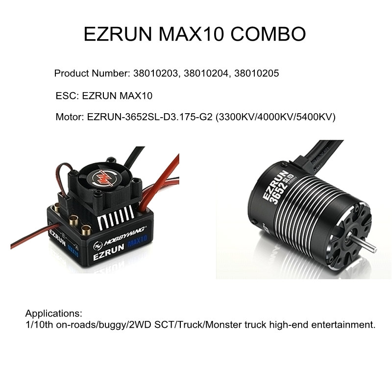 HobbyWing EZRUN MAX10 COMBO 38010203 38010204 38010205 60A esc 3652 G2 3300KV 4000KV 5400KV motor for RC 1/10 cars buggy truck f19283 combo max10 60a brushless esc 3652sl g2 3300kv brushless motor speed controller for rc 1 10 suv truck car