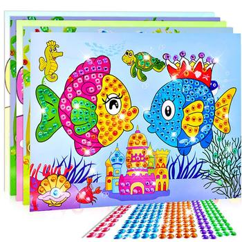 4Pcs Paper DIY Crafts Crystal Diamond Stickers Painting Mosaic Puzzle early Educational Kids Toy Handmade Crystal Paste Paste cxzyking large 20pcs puzzle diy diamond sticker handmade crystal diamond sticker paste mosaic puzzle toys for kids children