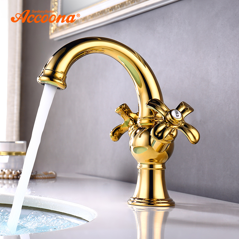 Accoona Golden Basin Faucet Brass Bathroom Classic Tap Sanitary Ware Dual Flower Handle Deck Mounted Basin Faucets A96106W цена