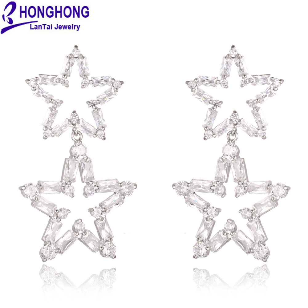 HONGHONG 2017 New big dangle earrings For Women Shining Double star drop Earrings Cubic zirconia trendy fashion Jewelry lzhlq tassel earrings for women ethnic big drop earrings bohemia fashion jewelry trendy cotton rope fringe long dangle earrings