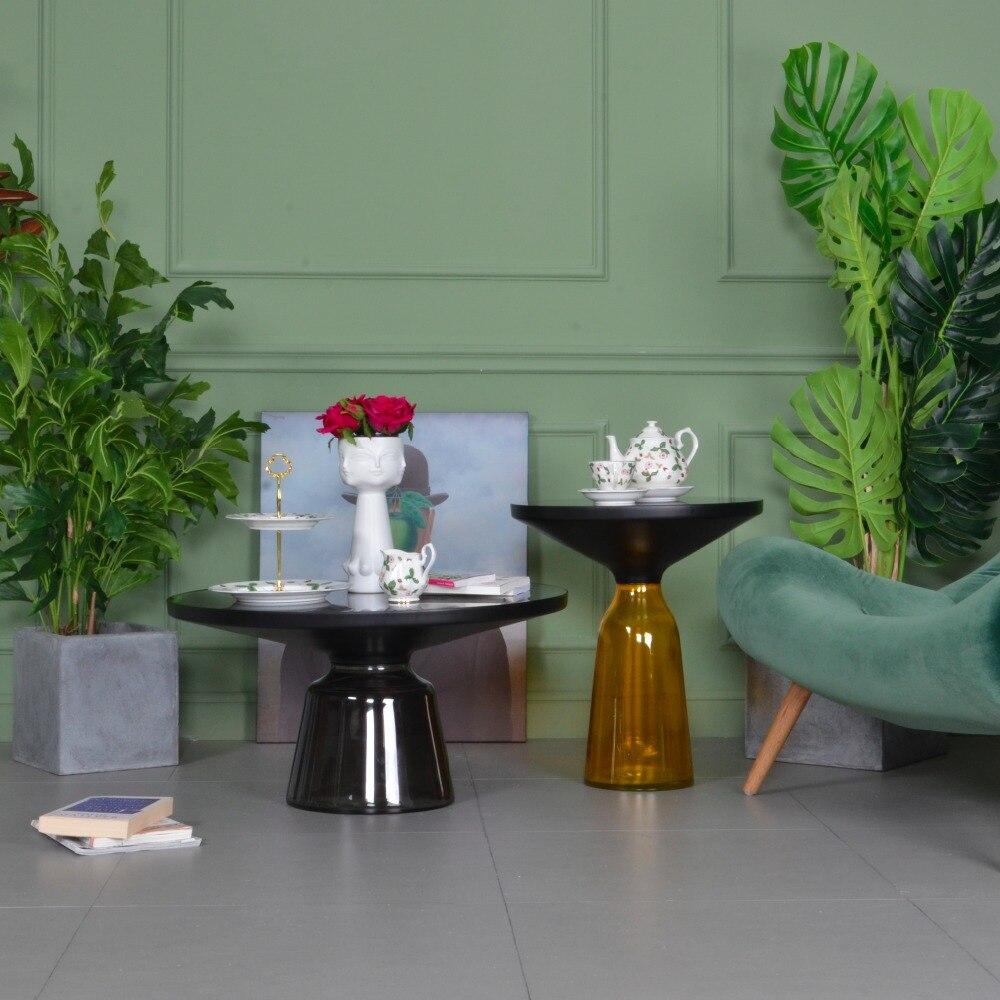 InYard sélectionné Nordique vent minimaliste réplique à la main cloche de verre table basse plusieurs bord angle