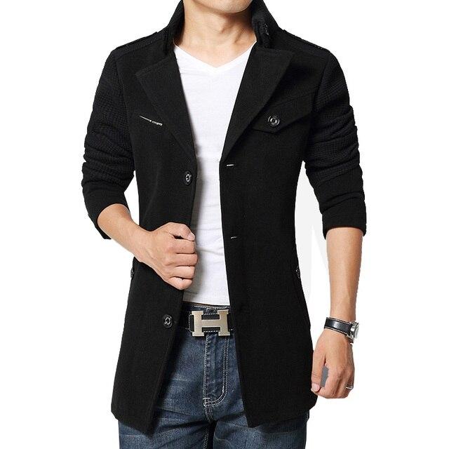 Venta caliente de los hombres abrigo de lana de invierno peacoat chaqueta de manga larga prendas de vestir exteriores caliente de 4 colores Ml XL XXL 3XL 4XL