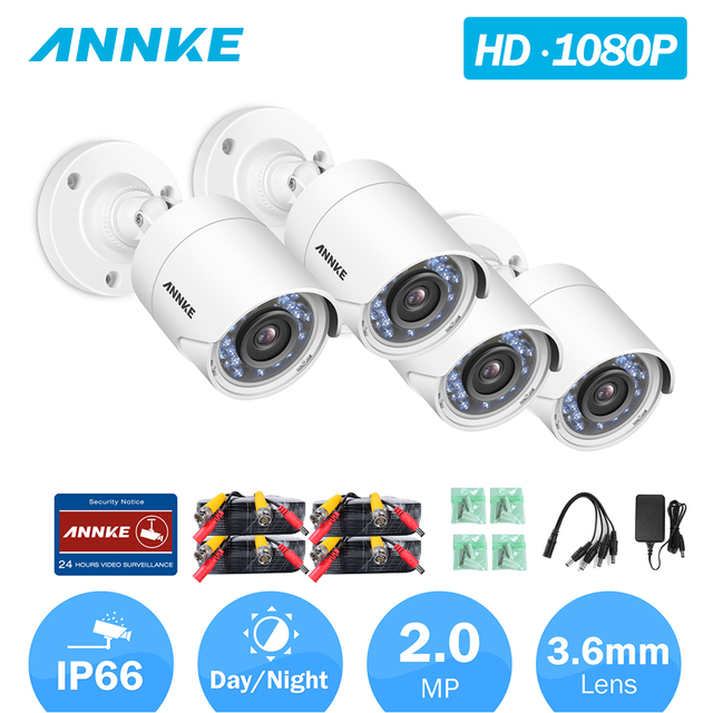US $137 25 14% OFF|ANNKE 1080P HD TVI Bullet CCTV Camera 4pcs Kit  Weatherproof Housing And 66ft Super Night Vision Security Video  Surveillance-in