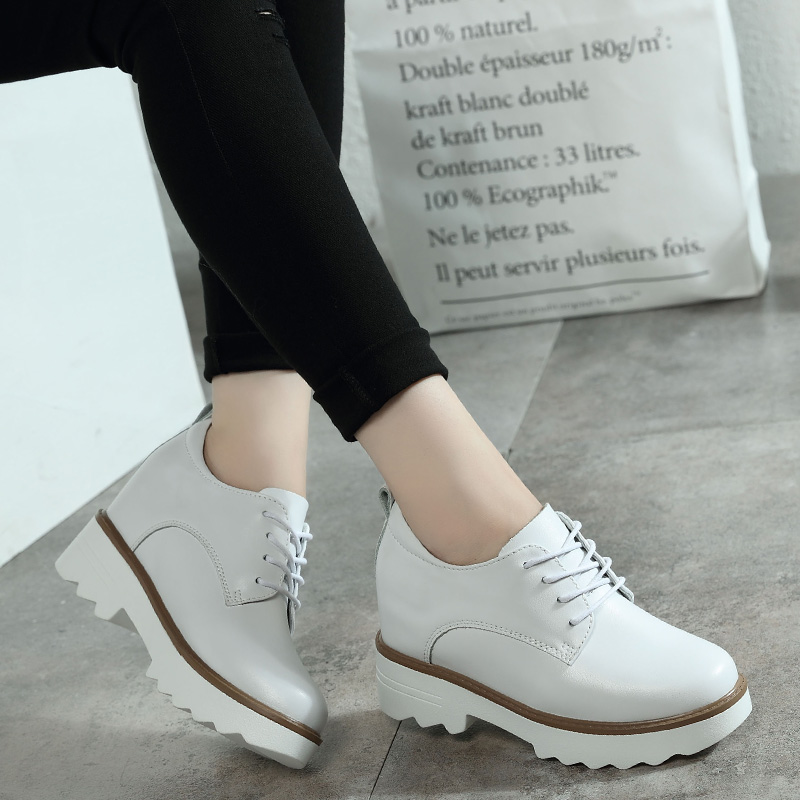 Women Sneakers 2018 Genuine Leather Oxford Shoes Women Flats Fashion Women Platform Shoes Casual Moccasins Loafers Ladies Shoes