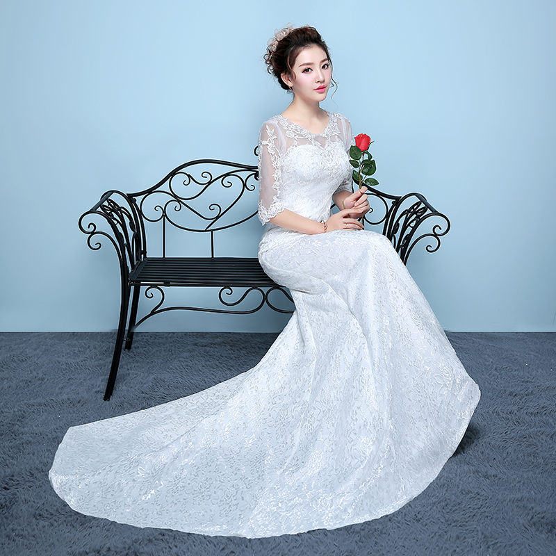 New spring and summer bridal dresses embroidered lace on net wedding ...