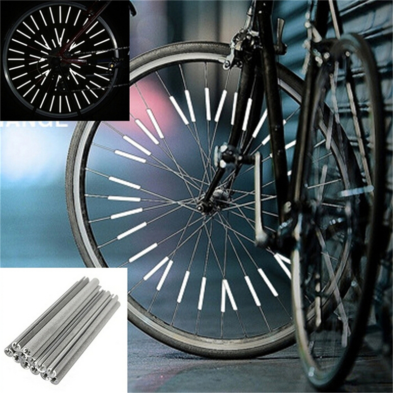 Strip Tube Bicycle Reflector Light Wheel Rim Spoke Reflective Mount Clip