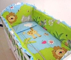 6 sztuk Lion 100% bawełna Kid dziecko dzieci zestaw pościeli produkt niemowlę Cartoon prześcieradło berco bebe (4 zderzak + prześcieradło + poszewka na poduszkę)