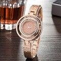 Mujer 2016 Relojes de Marca de Lujo de Diamantes de Aleación de Oro Pulsera de Reloj de pulsera de Cuarzo de La Correa de Malla-Estudiante Reloj Pulsera Relogio Feminino