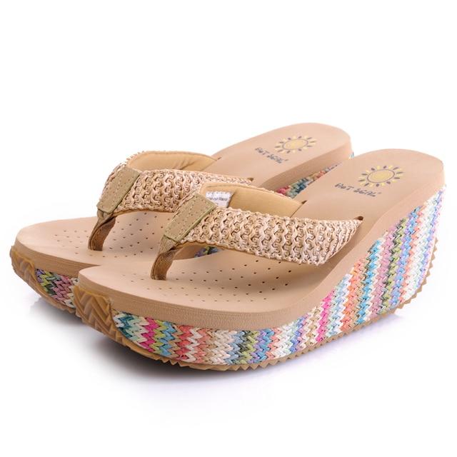 de2c488e1da Free shipping woman high-heeled sandals 2015 summer lady wedge flip flops  girls thick sole leisure beach slippers fashion shoes