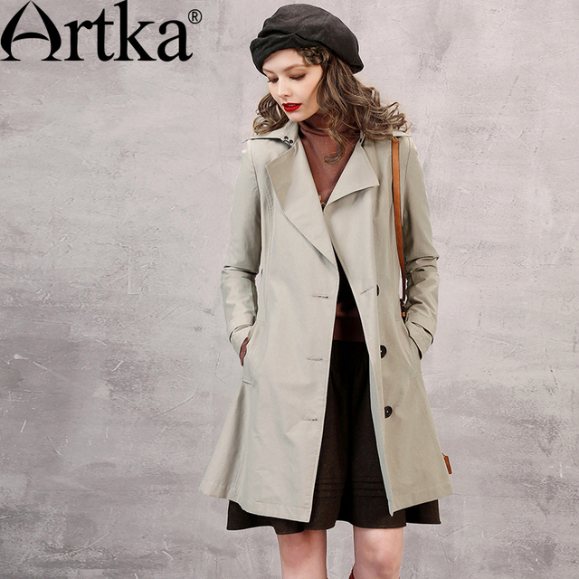 Artka Women's Autumn New 3 Colors All-match Trench Turn-down Collar Long Sleeve Single Breasted Trench With Sashes FA10751Q