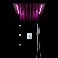 Big Shower Head Rainfall Mirror Shower Panel Ceiling Bathroom Accessories Shower Set Water Saving LED Light Showerhead 500*360mm