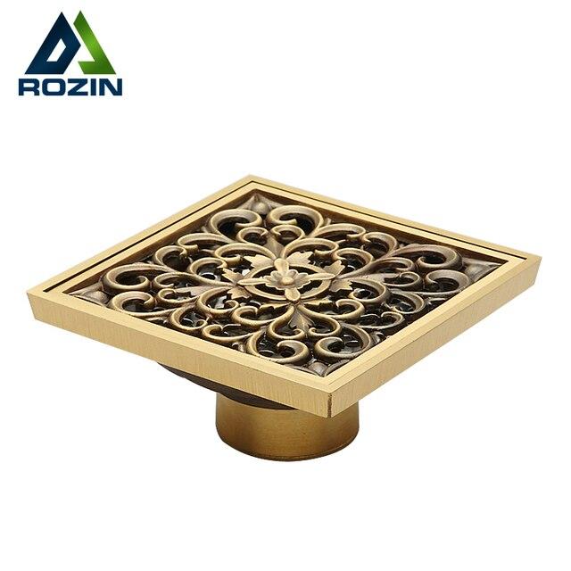 Antique Brass Floor Drain Shower Drain Square Kitchen Waste Drain Bathroom Deodorant Grate Drain Strainer Cover Grate