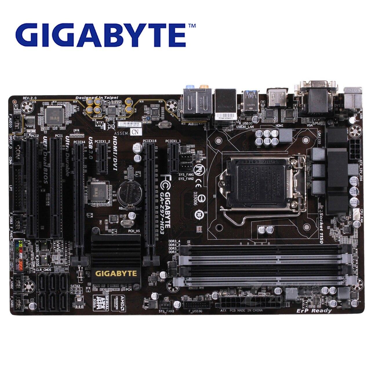 LGA1150 DDR3 Z97 Gigabyte GA-Z97-HD3 100% Original Motherboard USB3.0 32G Z97-HD3 Desktop Mainboard SATA III Mother board Used цена 2017