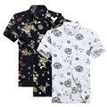 Cotton Shirt Men Dragon Print Dress Shirts Mandarin Collar Short Sleeve Chinese Tops Plus Size Tang Suit Print Dress Shirts