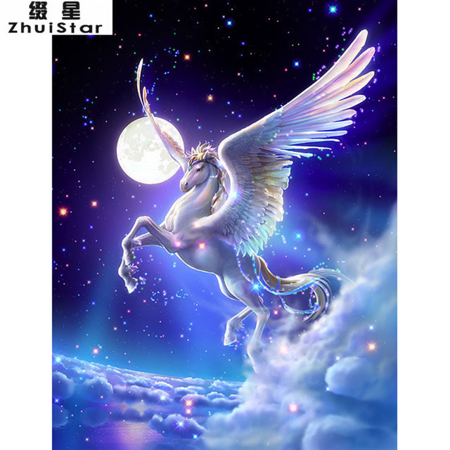 New 5d Diy Diamond Painting Galaxy Horse Embroidery Full Square