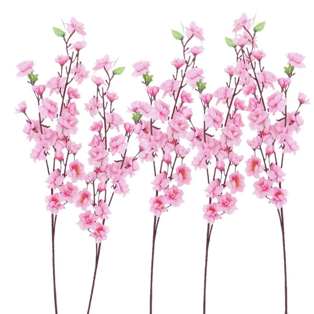 6 pcs Peach Blossom Bunga Simulasi Bunga Buatan Sutra Bunga Dekorasi - Hari libur dan pesta