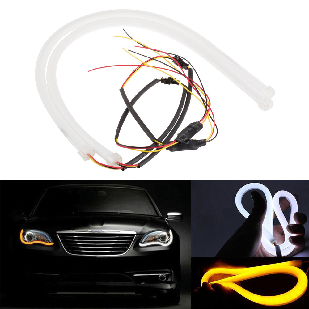 Systematic 2pcs 85cm 3020 258leds Car Led Drl Tears Light Daytime Running Lamp Drl Turn Signal Light White Amber Flexible Strip Light Dc12v Automobiles & Motorcycles
