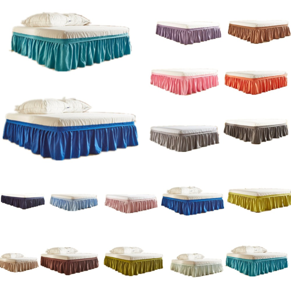 16 Colors Hotel Elastic Bed Skirt 100% Polyester Solid Color Bedspread without Bed Surface for King/Queen Size Bedsheet Decor title=