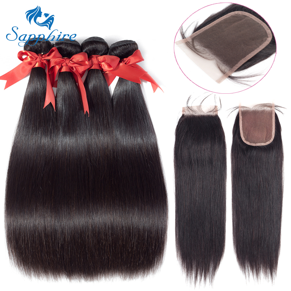 Sapphire Malaysian Hair Bundles with Closure Straight Hair Bundles with Closure Natural Human Hair Bundles with