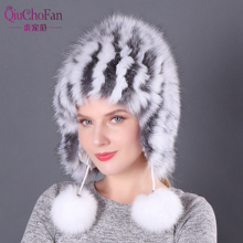 2019 Hot Sale 100% Natural Silver Fox Fur Women Winter Hat Knitted Cap Women Hat Fox Fur Bomber Hat Female Ear Warm Winter недорго, оригинальная цена