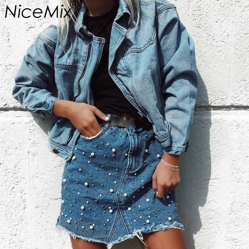 NiceMix 2019 Summer Plus Size Denim Skirts Womens Pearl Beading Casual High Waist Skirt Asymmetry Tassel Jeans Saia Skirt Femme in Skirts from Women 39 s Clothing