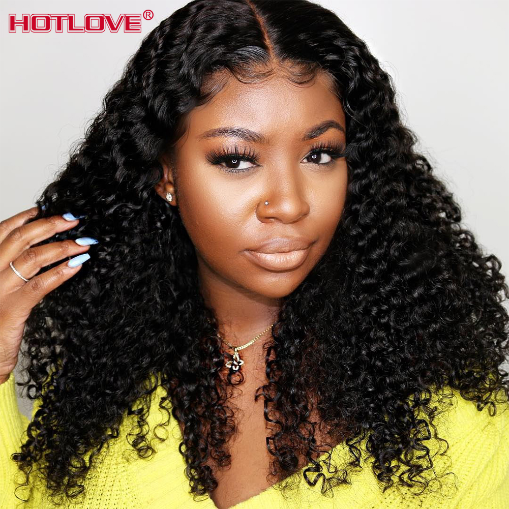 Brazilian Kinky Curly Lace Front Human Hair Wigs Transparent 13x4 Lace Front Hair Wigs With Baby Hair Pre Plucked Remy Hair