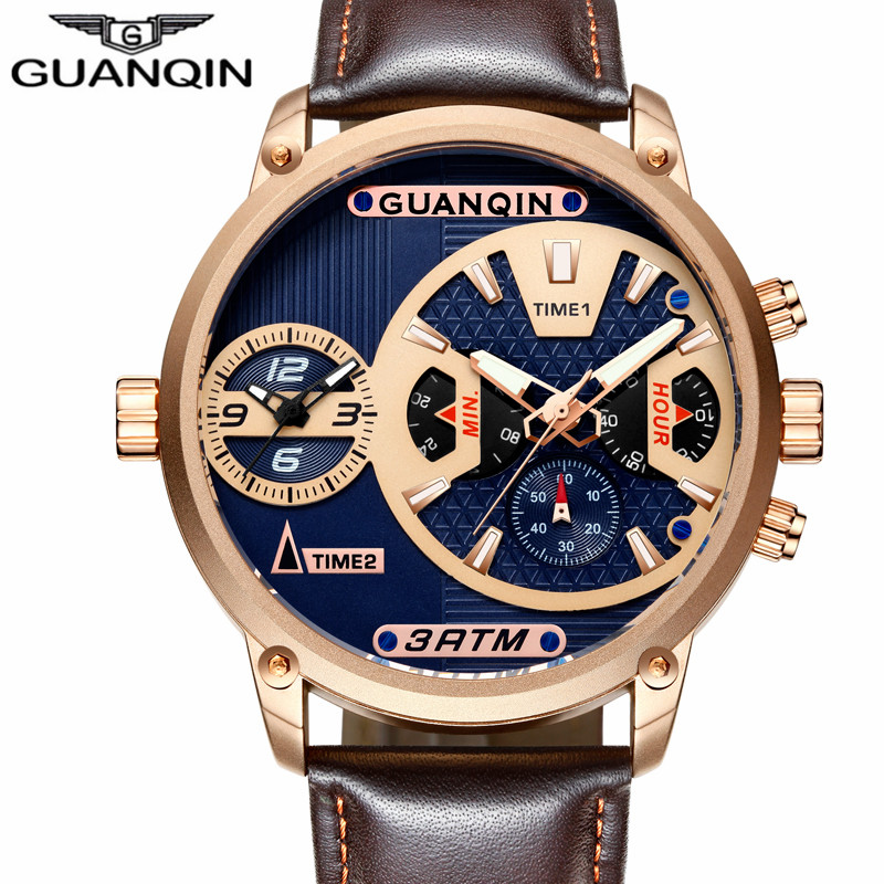 GUANQIN Luxury Mens Sport Multiple Time Zone Quartz Watch Classic Men Retro Leather Casual Wristwatch clock relogio masculino weide casual genuin brand watch men sport back light quartz digital alarm silicone waterproof wristwatch multiple time zone