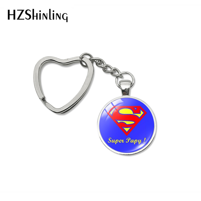 2019 New Fashion Trendy Super Papy Grandpa Heart Key Chains Art French Design Pattern Glass Dome  Keychains Holder Jewelry
