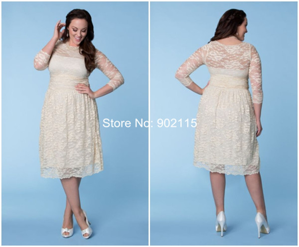 Tea length plus size short lace wedding dresses for fat woman with ...